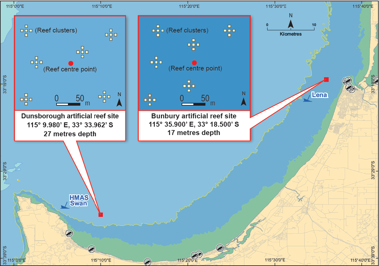 South west artificial reef location map