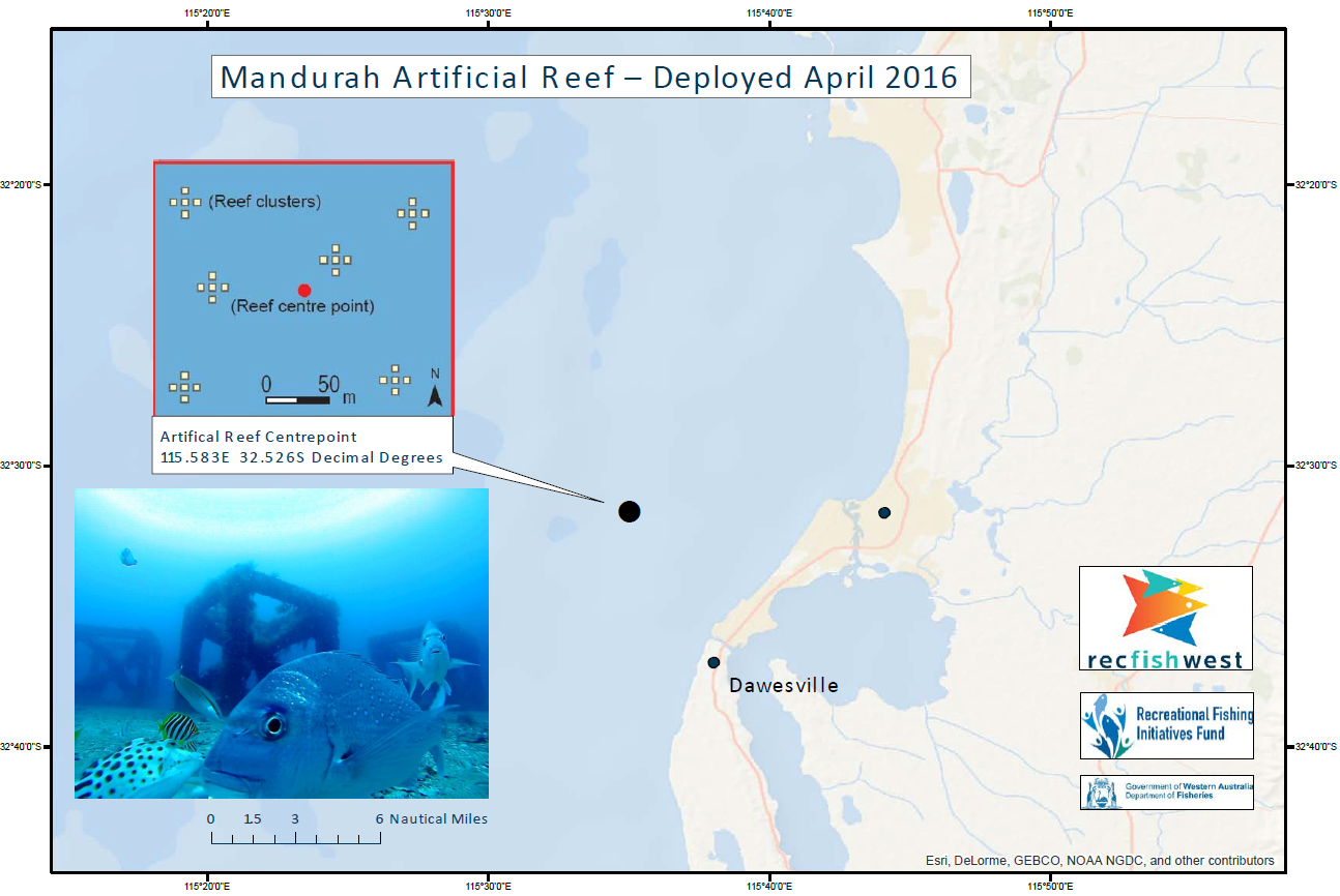 Mandurah Artificial Reef Location Map