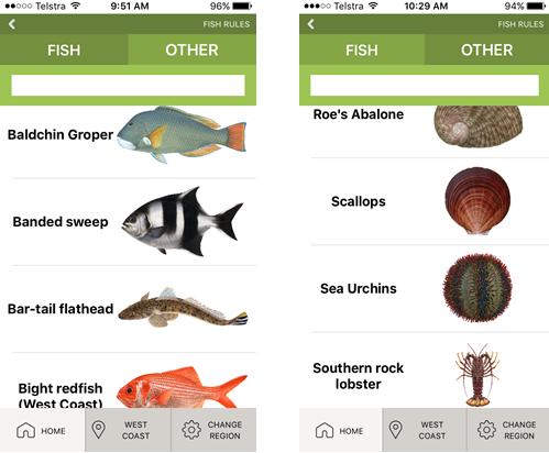 Recfishwest Fishing App Screen