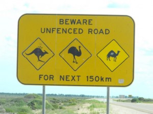 Unfenced Road Sign