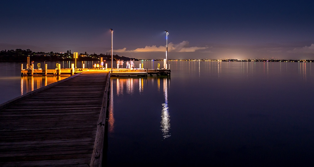 Fishing from Point Walter Jetty at night