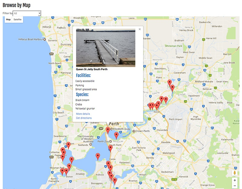 Map Of The Swan River Swan River jetties map | ilovefishing