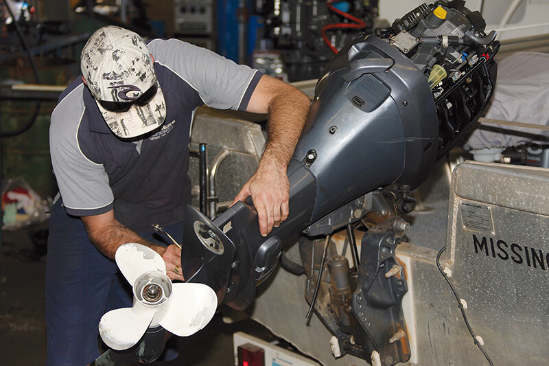 Servicing a boat motor
